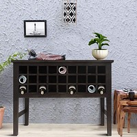 Rectangular Wooden Wine Cabinet with Multiple Storage Slots, Brown By The Urban Port
