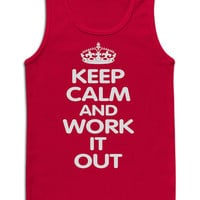 Keep Calm and work it out TANK top. Gym Workout Tank Top Exercise Women's Workout clothes