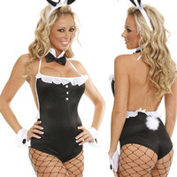 Black Halter Backless Ruffled Lace Bunny Costume