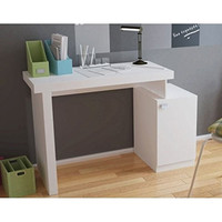 Bagno Level Work Desk with 1- Door and Cubby in White