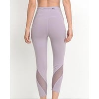 Final Sale - Active Hearts - Wave Mesh High Waist Sports Leggings in Lavender