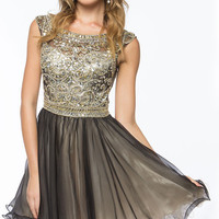 KC14101 Jeweled Boat Neck Cocktail Dress Amelia Collection by Kari Chang Couture