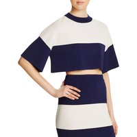 Kendall + Kylie Womens Knit Colorblocked Crop Top