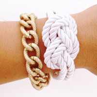 Arm candy set - Silk Knot bracelet and Chunky Chain - 24k gold plated