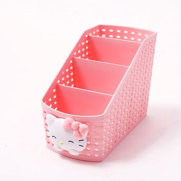 Storage Basket Box Caroon Hello Kitty Office Desktop Storage Box Multipurpose Makeup Organizer