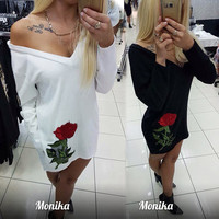 2016 New Style Casual Womens Deep V-neck Autumn Embroidery Party Dresses Fall Sexy Vintage Long Sleeve Casual Dress