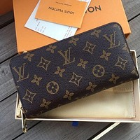 Louis Vuitton LV Classic Women Leather Zipper Wallet Purse Clutch Bag-1
