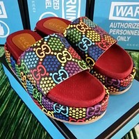 Gucci Thick bottom slippers shoes jacquard non-slip wear-resistant raw rubber bottom jumping candy color printing