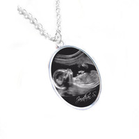 Oval Sonogram Necklace, Pregnancy Gift, birth announcement, Gift for New Mother, Silver Ultrasound Necklace