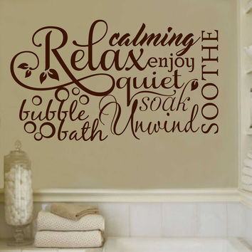Relax Bubble Bath Collage | Bathroom Vinyl Decal | Wall Lettering