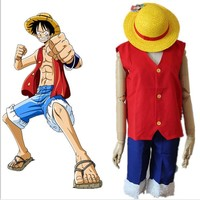Anime One Piece Monkey D Luffy Cosplay Costume Full Set Short Sleeve Uniform ( Top + Shorts + Hat ) For Adult Halloween Costumes