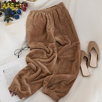 Winter Warm Velvet Pants For Women Elastic Waist Outerwear Pajama Trousers For Women Crop Pants Cashmere Loose Trousers