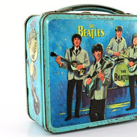 The Beatles  1965 Blue Metal Lunchbox by ShopVintageGifts on Etsy