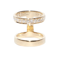 Campbell Double Stack With Diamonds - Diamond Gold Ring - ShopBAZAAR
