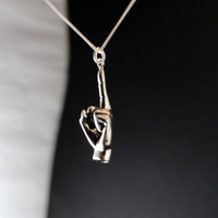 Fuck you jewelry middle finger shove it pendant, sterling silver hand carved, rebel, unisex man woman teen jewelry spring