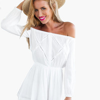 White Off Shoulder Long Sleeve Cross-Out Line Romper