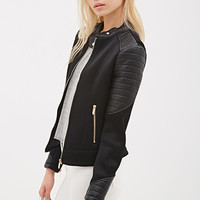 Faux Leather-Paneled Mesh Jacket