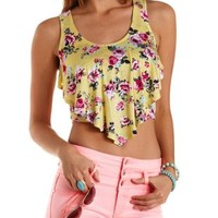 Printed Flounce Crop Top by Charlotte Russe