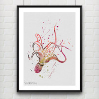 Octopus Watercolor Poster Art Print, Nautical Home Decor, Kids Bedroom Decor, Office Decor, Gift, Not Framed, Buy 2 Get 1 Free! [No. 14-2]