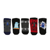Doctor Who Lost In Time And Space No-Show Socks 5 Pair