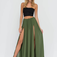 Airy Goddess Sheer Slit Maxi Skirt