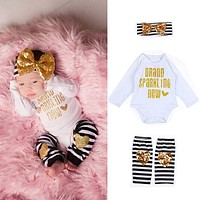 2016 Newborn Kids Baby Boy Girl Infant 3pcs Clothes Sets Romper Jumpsuit Headband Pants 3pcs Striped Love Bow Clothes Outfit Set