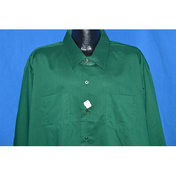 70s Green Big Collar Button Down Shirt XXXXL