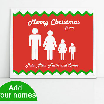 Personalised family portrait Christmas print in red, green and white. Custom name gift for Christmas, your names here 8x10inch art print.