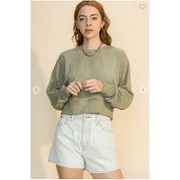Cropped and Cozy Crewneck (Olive)FINAL SALE