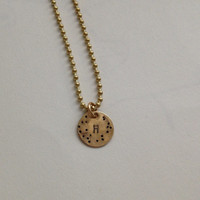 Mother's Day Gift Initial Jewelry Necklace Metal Stamped Brass Initial Confetti Necklace Initial Jewelry H Initial Brass Necklace Initial H