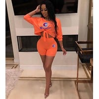Champion Woman Long Sleeve Top Shorts Two-Piece