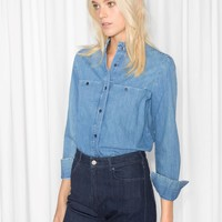 & Other Stories | Ruffle Collar Chambray Shirt | Blue