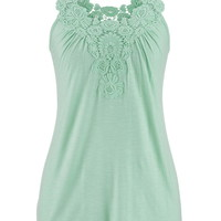 Lace Top Hacci Tank With Ruching