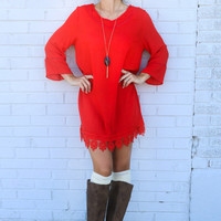 The Vienna Vermilion Bell Sleeve Shift Dress With Cutout Details & Crochet Lace Hem