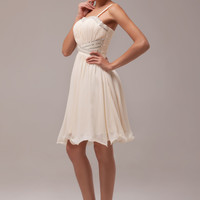 Apricot Sequined Spaghetti Strap Short Flounce Homecoming Dress