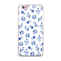 "Starwberringo ""Blue Floral Pattern"" White Blue iPhone Case"