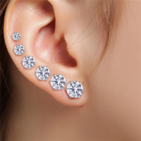6 Pair 3-8MM Fshion Punk Cubic Ear Studs Stainless Steel Round Small White Black Stud Earrings Jewelry For Cool Women Men EF8