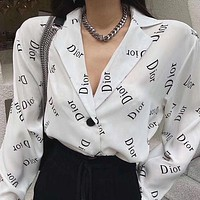 DIOR new women's solid color home printed chiffon long-sleeved shirt shirt sunscreen suit