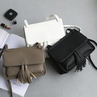 Summer Korean Black One Shoulder Bags Vintage Messenger Bags [4915826116]