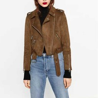 Chic Brown Faux Suede Jacket