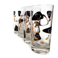 Atomic Drinking Glasses, Tumblers, Mid Century Barware, Black and Gold, Set of Four, Retro Bar
