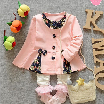 2016 spring baby girl coat spell color bow child cardigan single-breasted cardigan thin coat jacket