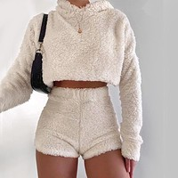 2020 women's autumn and winter new long-sleeved solid color plush hooded sweater shorts two-piece suit
