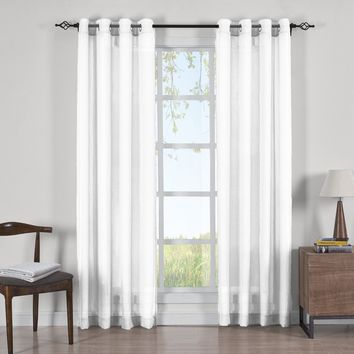 WHITE Abri Grommet Crushed Sheer Curtain Panels (Two Panels )