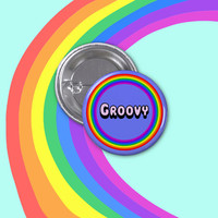 """Groovy Retro 1 1/4"""" Pinback Button - Rainbow Hippie Psychedelic Pin"""