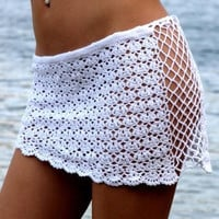 Fashion Women Bikini Bottoms Cover Up Lace Crochet Skirts Beachwear White SM6