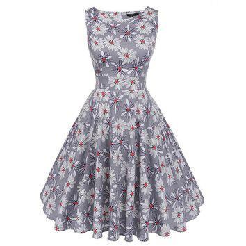 2017 Summer Cotton Women 50s 60s Retro Vintage Dress Rose Floral Print Rockabilly Swing Feminine Vestidos Party Belts Dress