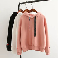 Letter Print Drawstring Hooded Pullover Shirt