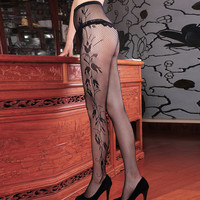 New Hot Pantyhose Female Sexy Fishnet Jacquard Stockings Patterned Tights Pantyhose Tights Women 102