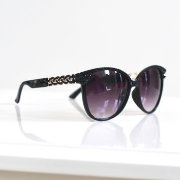 Rhinestone Braided Arm Sunglasses